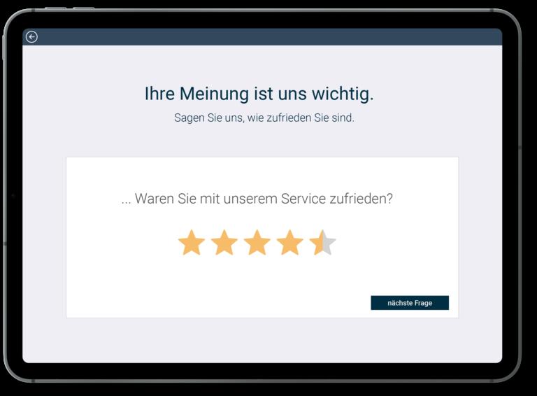 Service Bewertung über Tablet Feedback System
